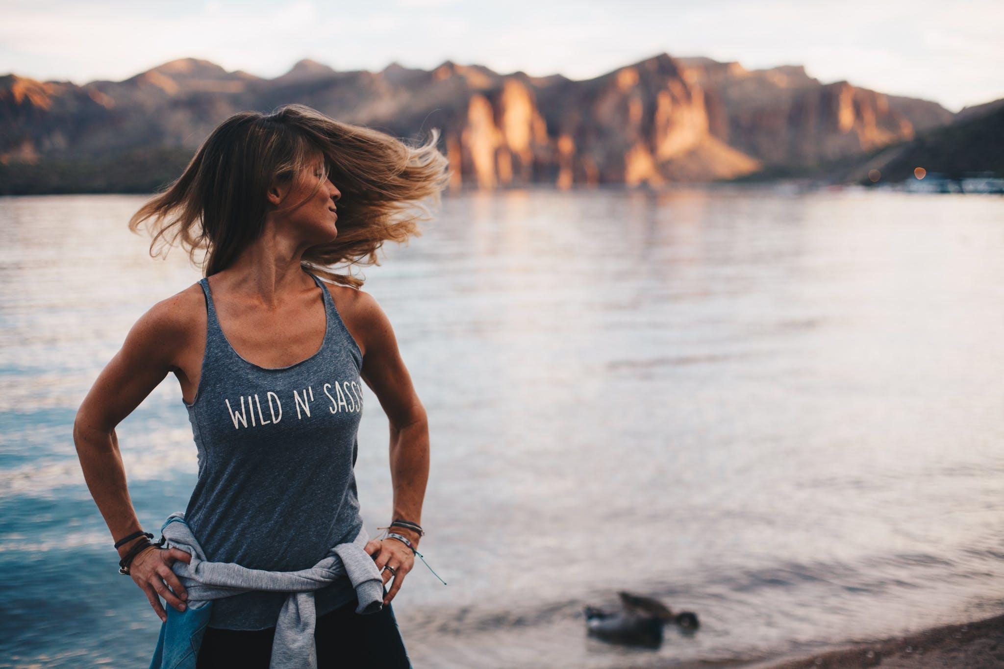 Woman Wearing Grey Wild 'n Sassy Tank Top Near Body of Water