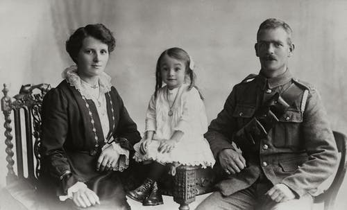 Photo Of A Military Man With His Family