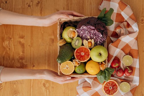 Person Holding A Basket Of Fruits