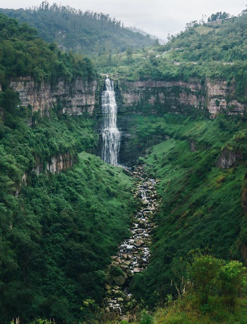 Scenic View of Waterfalls in the Middle of Mountain Forest