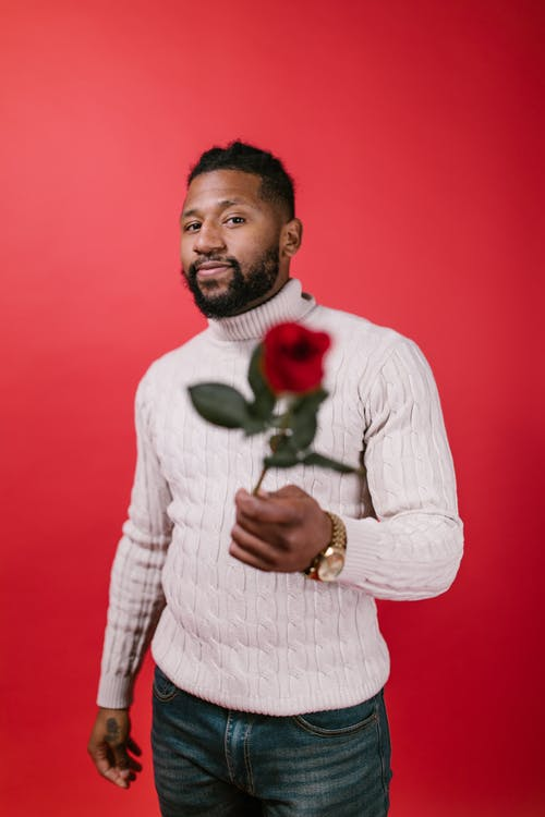 Man in White Sweater Holding a Red Rose