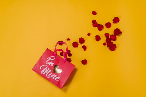 Be Mine Tote Bag With Red Flower Petals