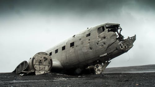 Gray Wrecked Plane Photography