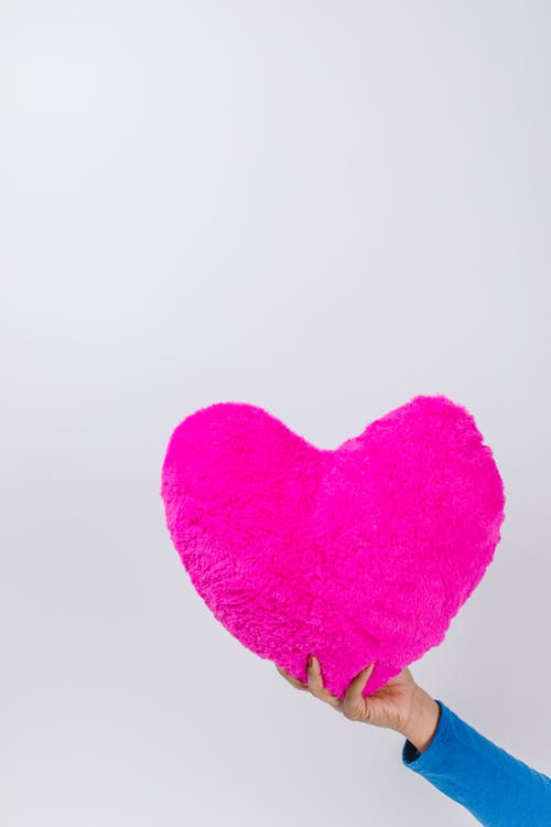Person Holding a Pink Heart Shaped Pillow