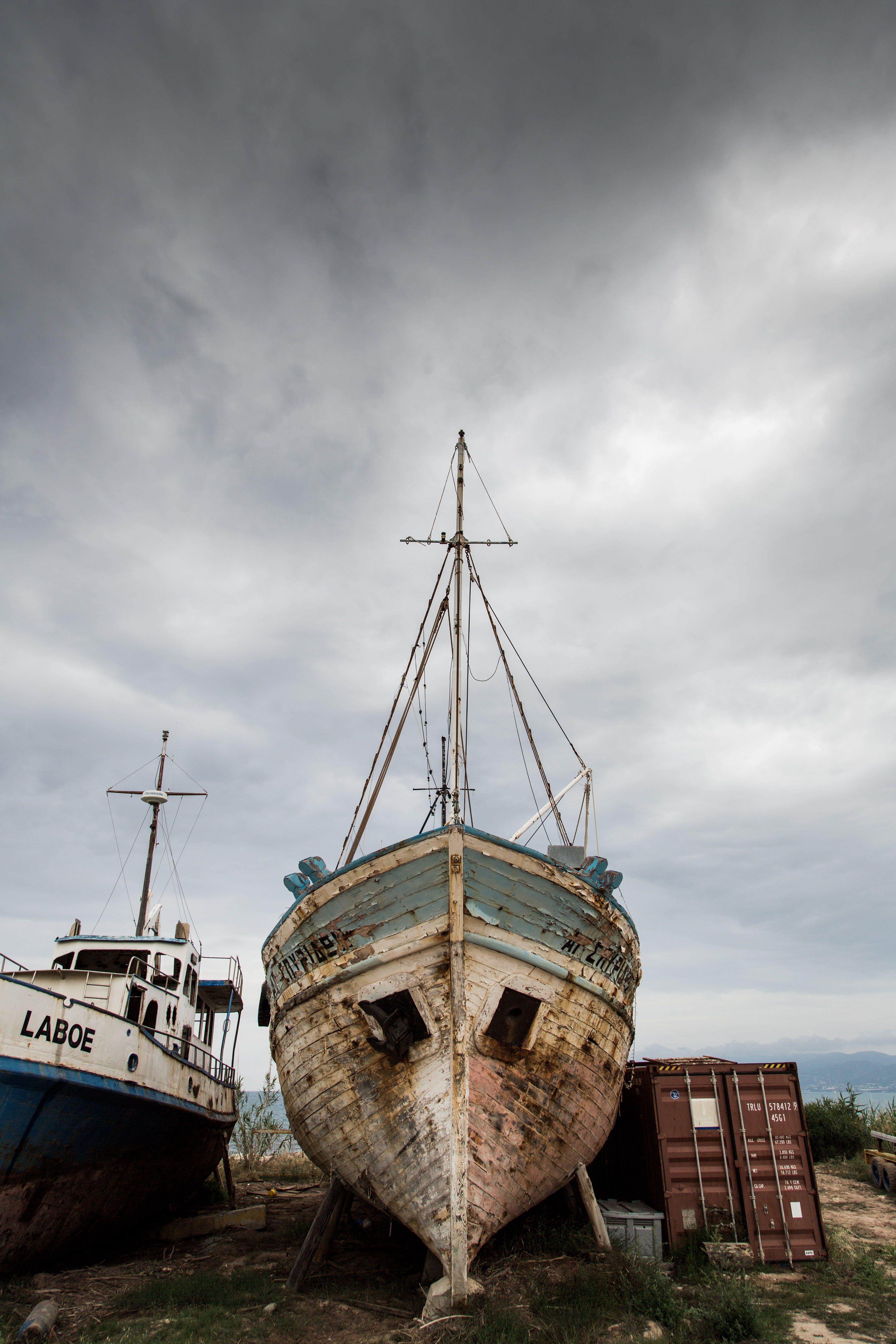 White Blue Boat