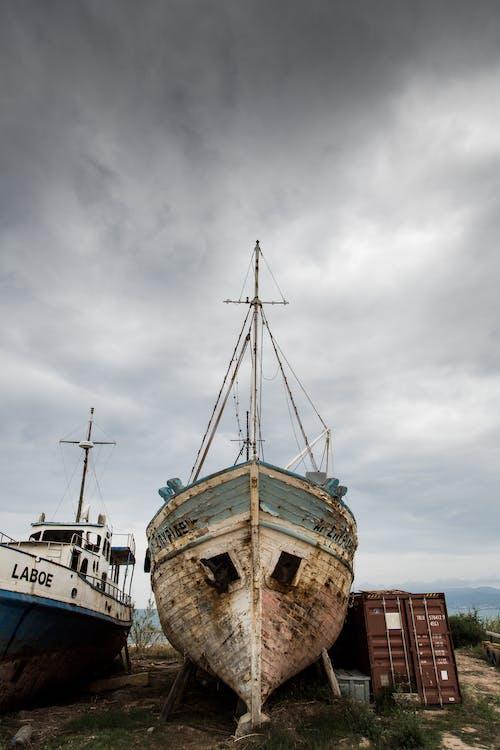 abandonné, bateau, bois