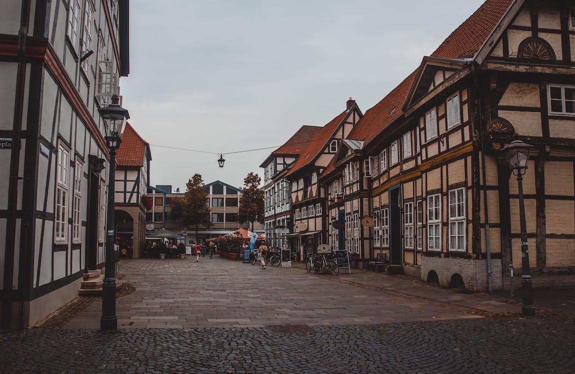 architektura, brukowana ulica, budynki