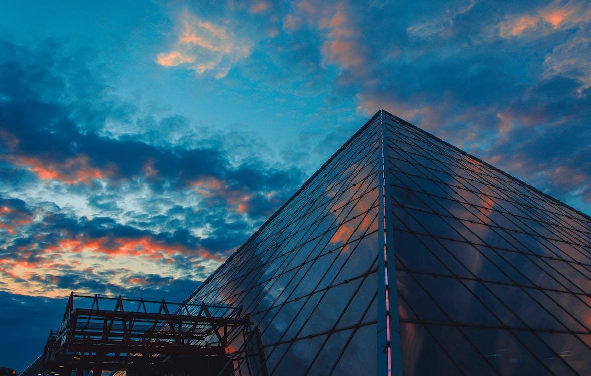 architektur, blau, blauer himmel