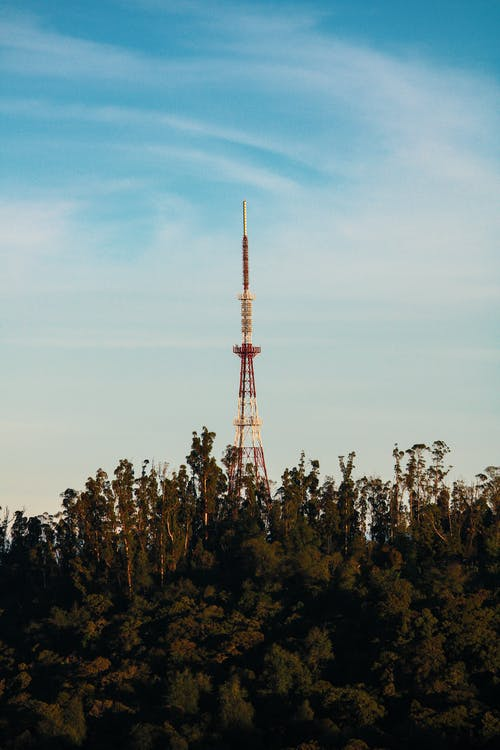 High broadcasting tower located near trees and thick high grass against cloudy blue sky