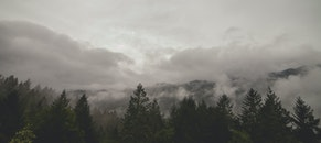 mountains, clouds, forest