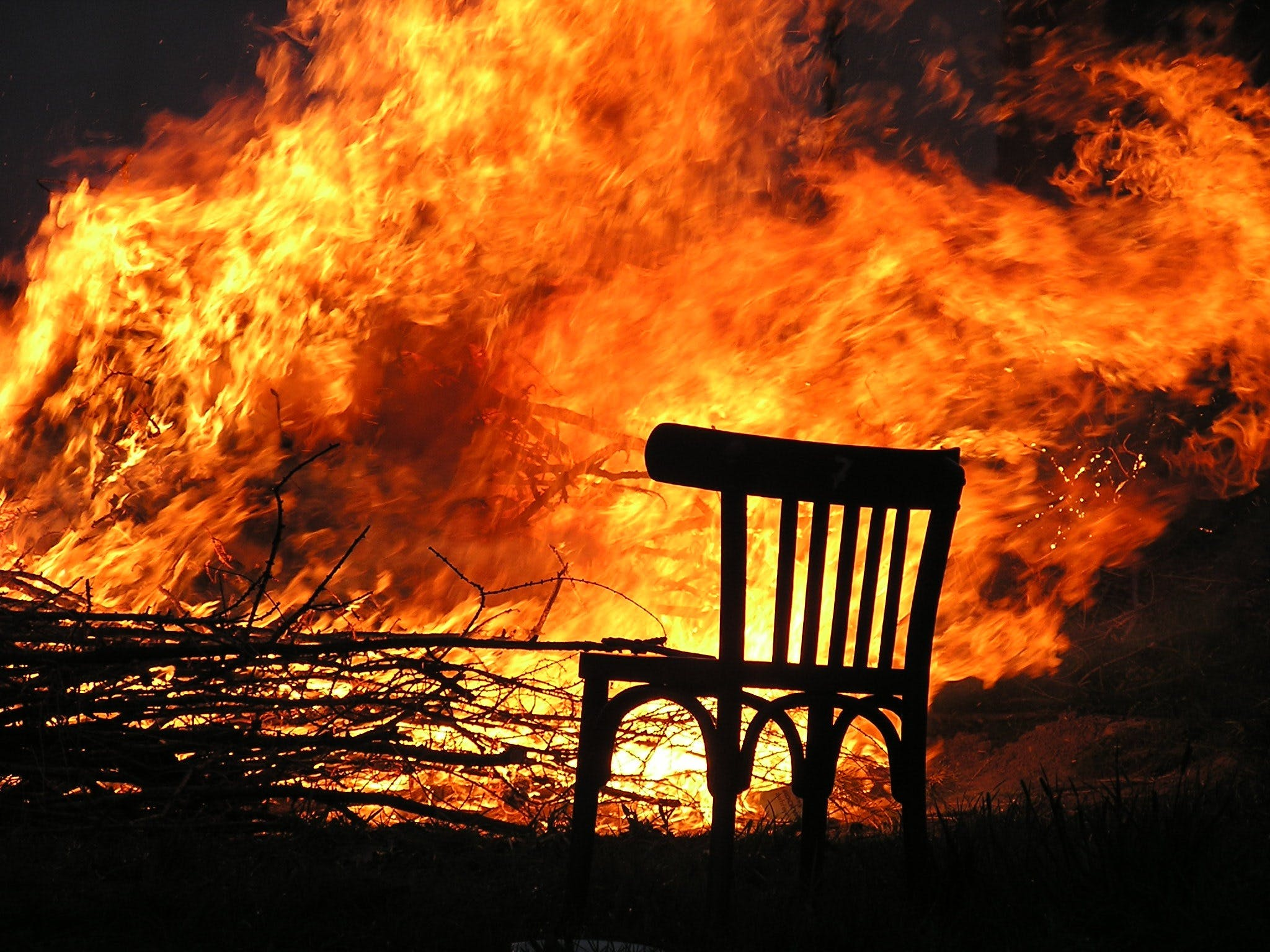 Free stock photo of fire, chair, flame, wood fire