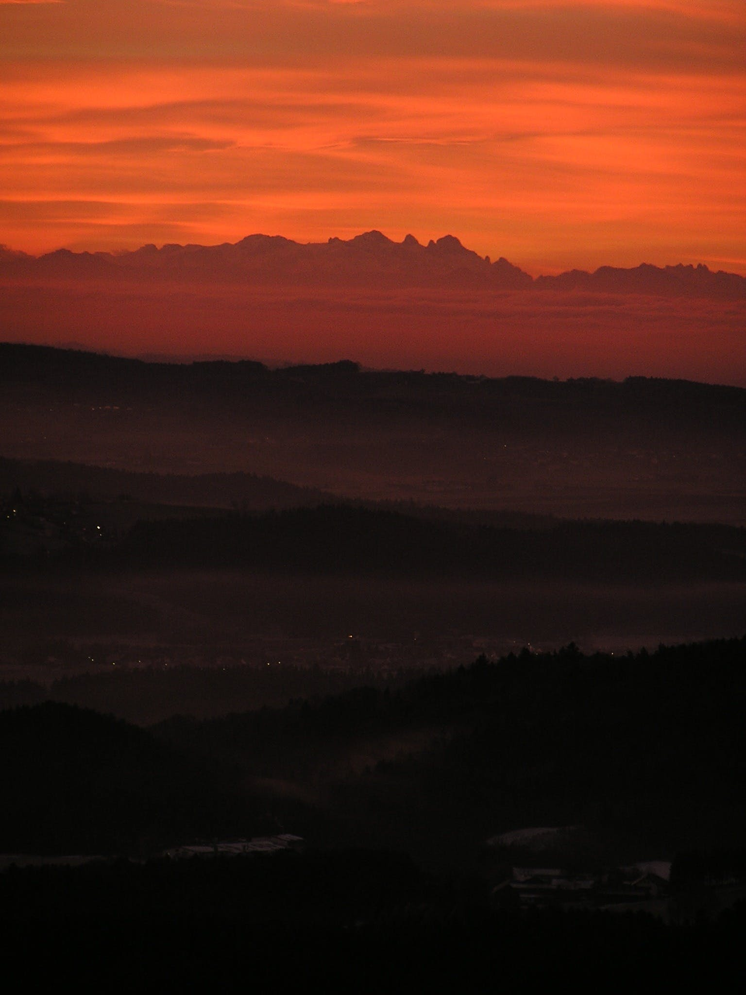 Black Mountains during a Reddish Sky