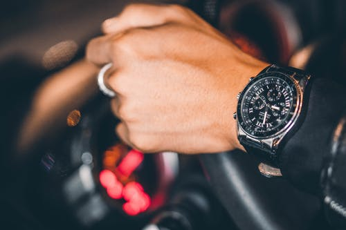Person Wearing Black Chronograph Watch