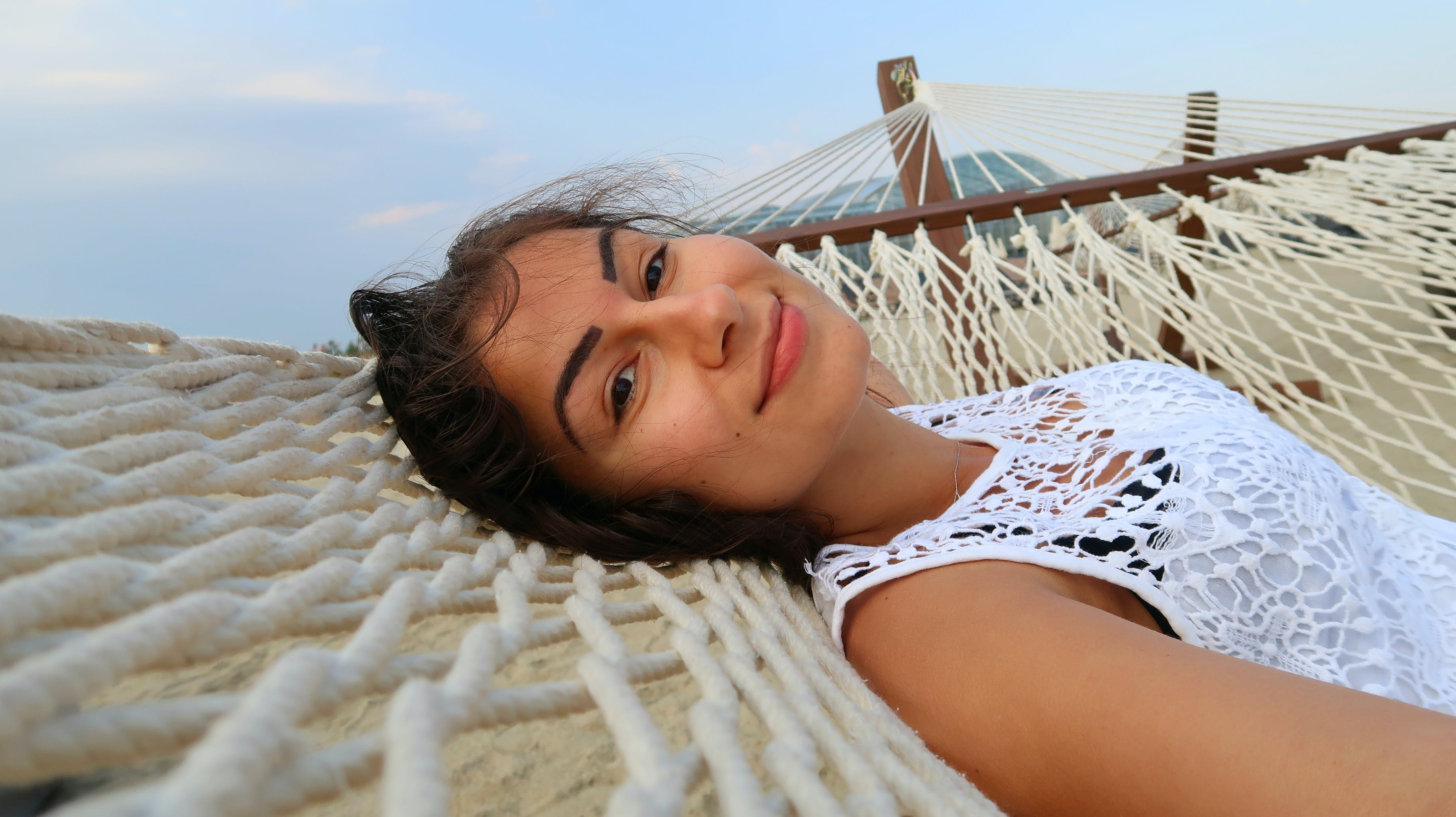 Free stock photo of hammock, relax, smile, woman