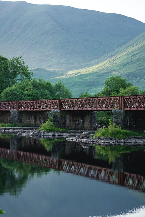 Steel Bridge Over River Near Mountain