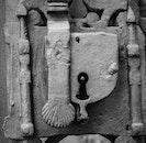 black-and-white, metal, door