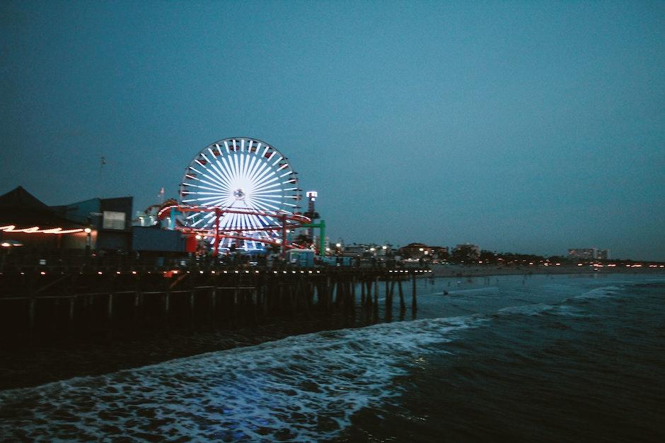 Ferris Wheel Lit during Night Time