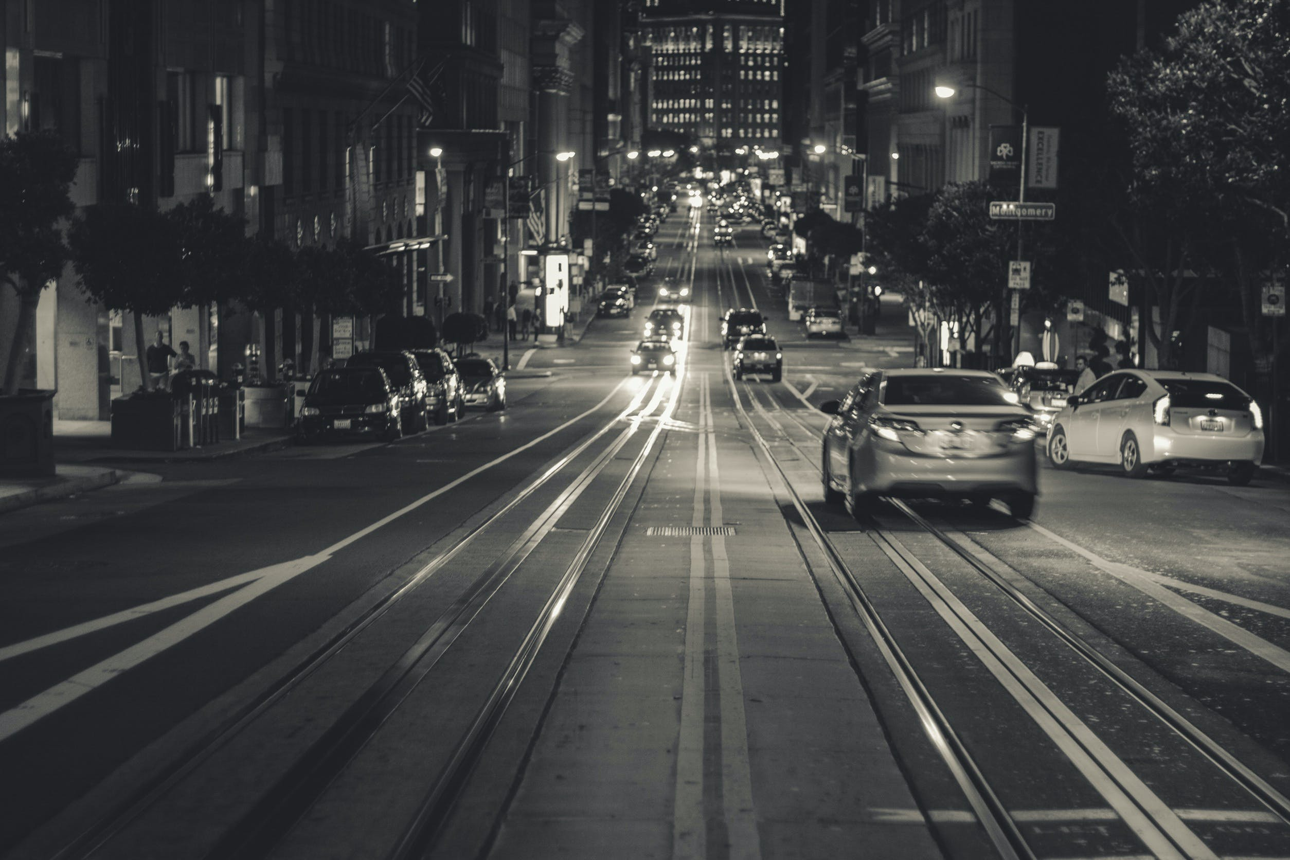 Free stock photo of black-and-white, city, cars, traffic