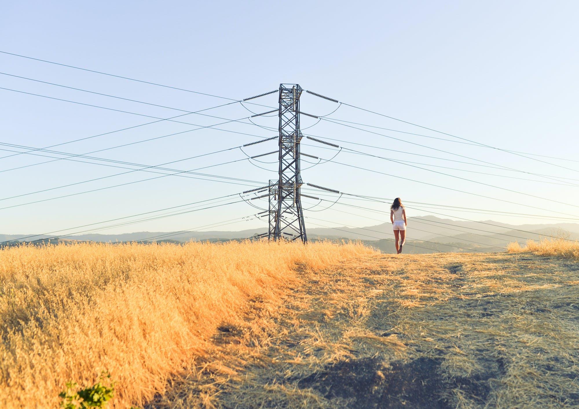 field, model, power lines