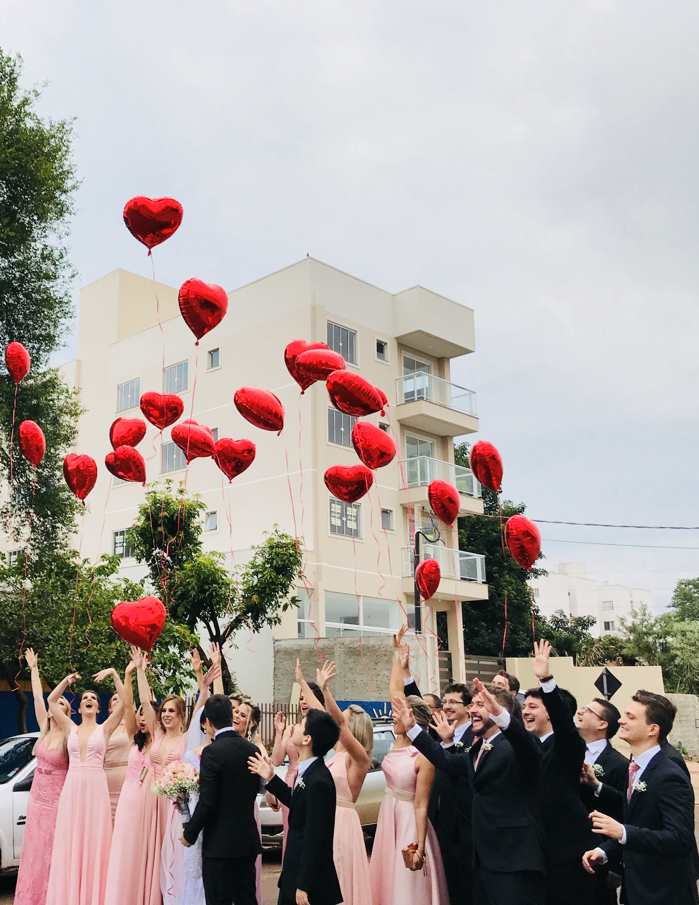 Women Wearing Pink Dresses and Men Wearing Black Suit Jacket and Pants Raising Hands With Red ...