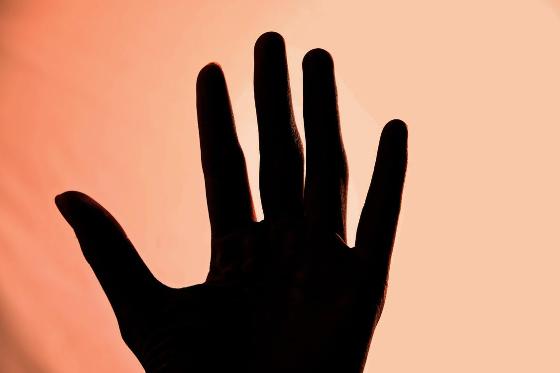 Silhouette of Left Human Hand