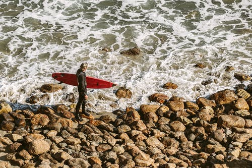 Man Wearing Wetsuit and Holding Red Surfboard on Shore