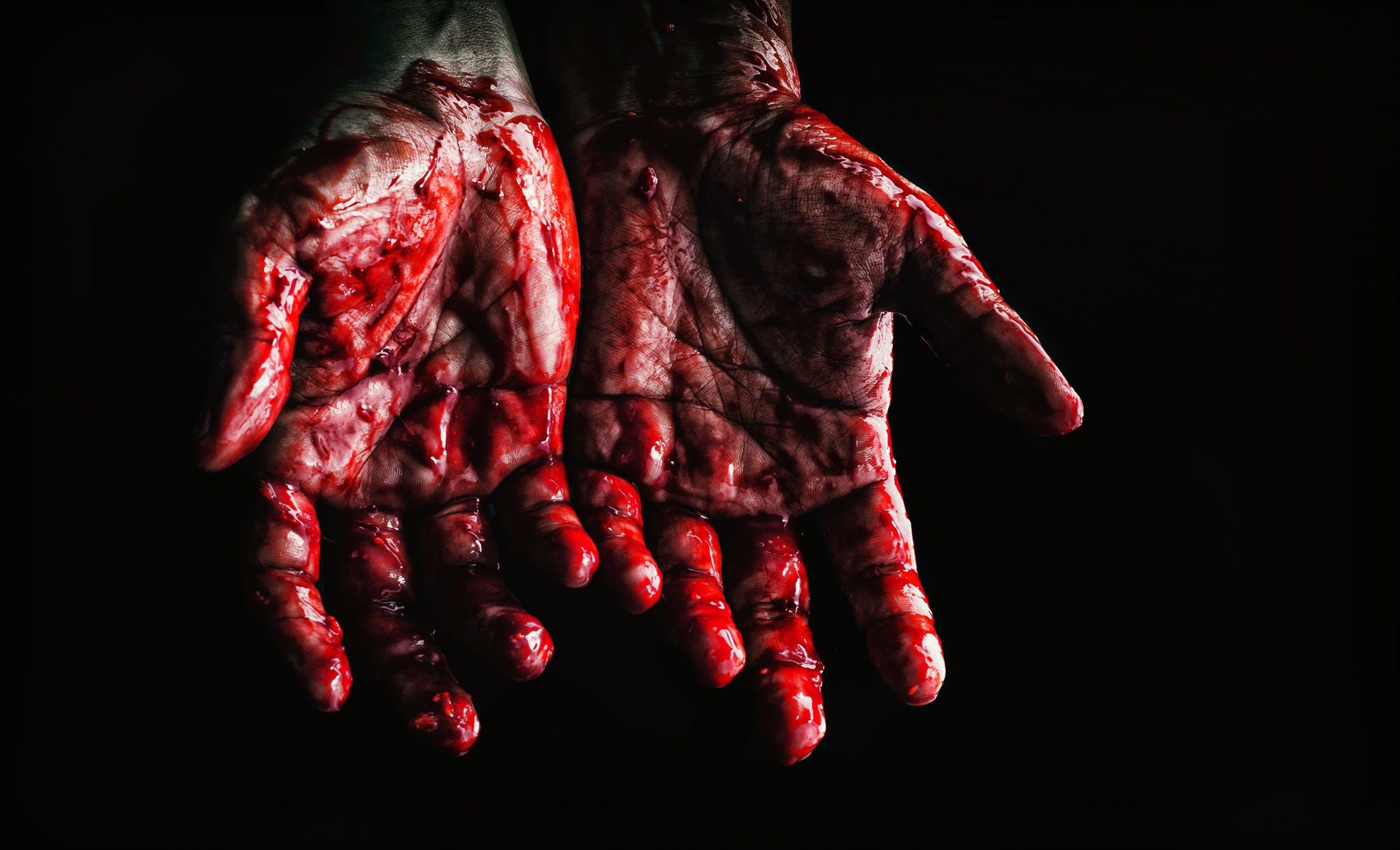 blod, blodig, close-up