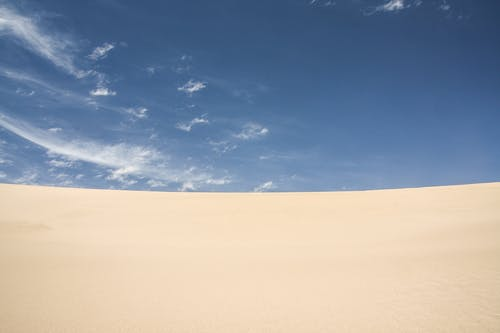 Dune of sandy desert during sunny day