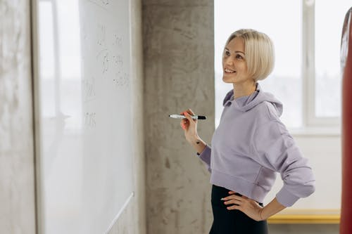 Woman Looking At A Whiteboard