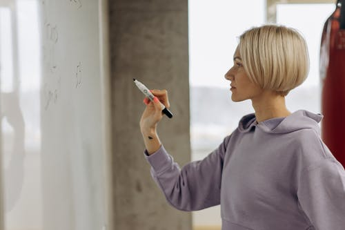 iew Of Woman Writing On A Whiteboard