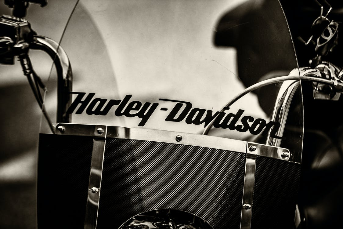 Graysacle Photography of Black Harley-davidson Motorcycle