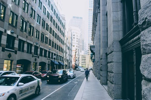 Free stock photo of buildings, cars, city, people