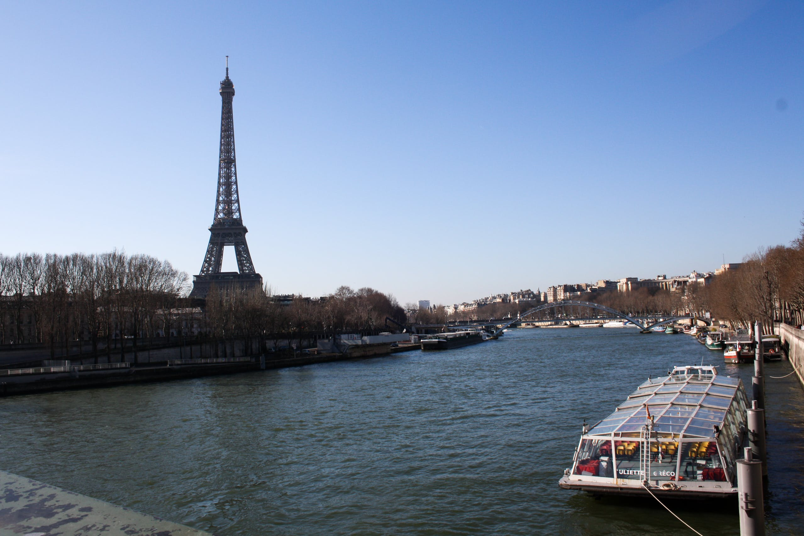 Free stock photo of boat, city, eiffel tower, france