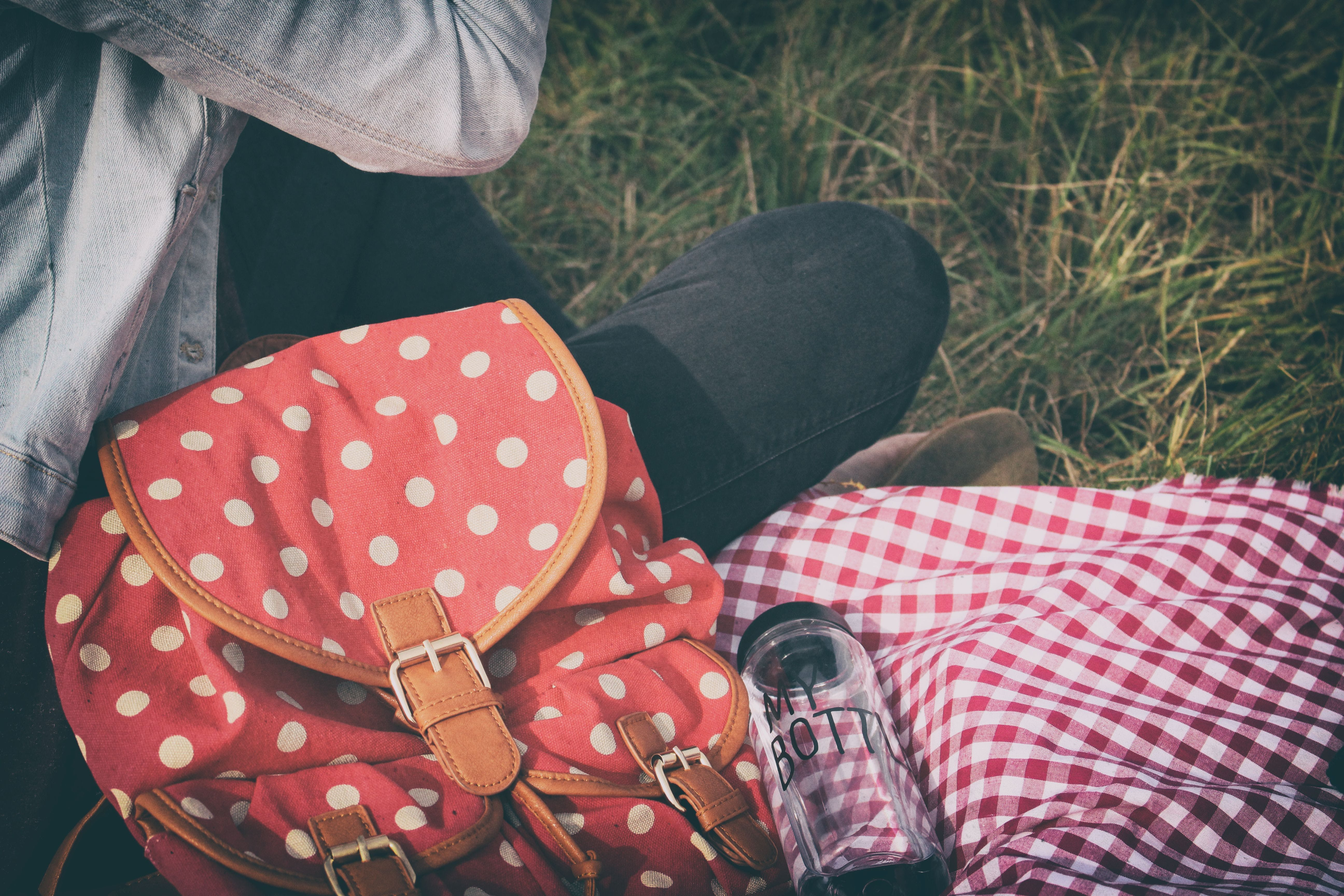 Woman's Red With Polka Dot Print Backpack