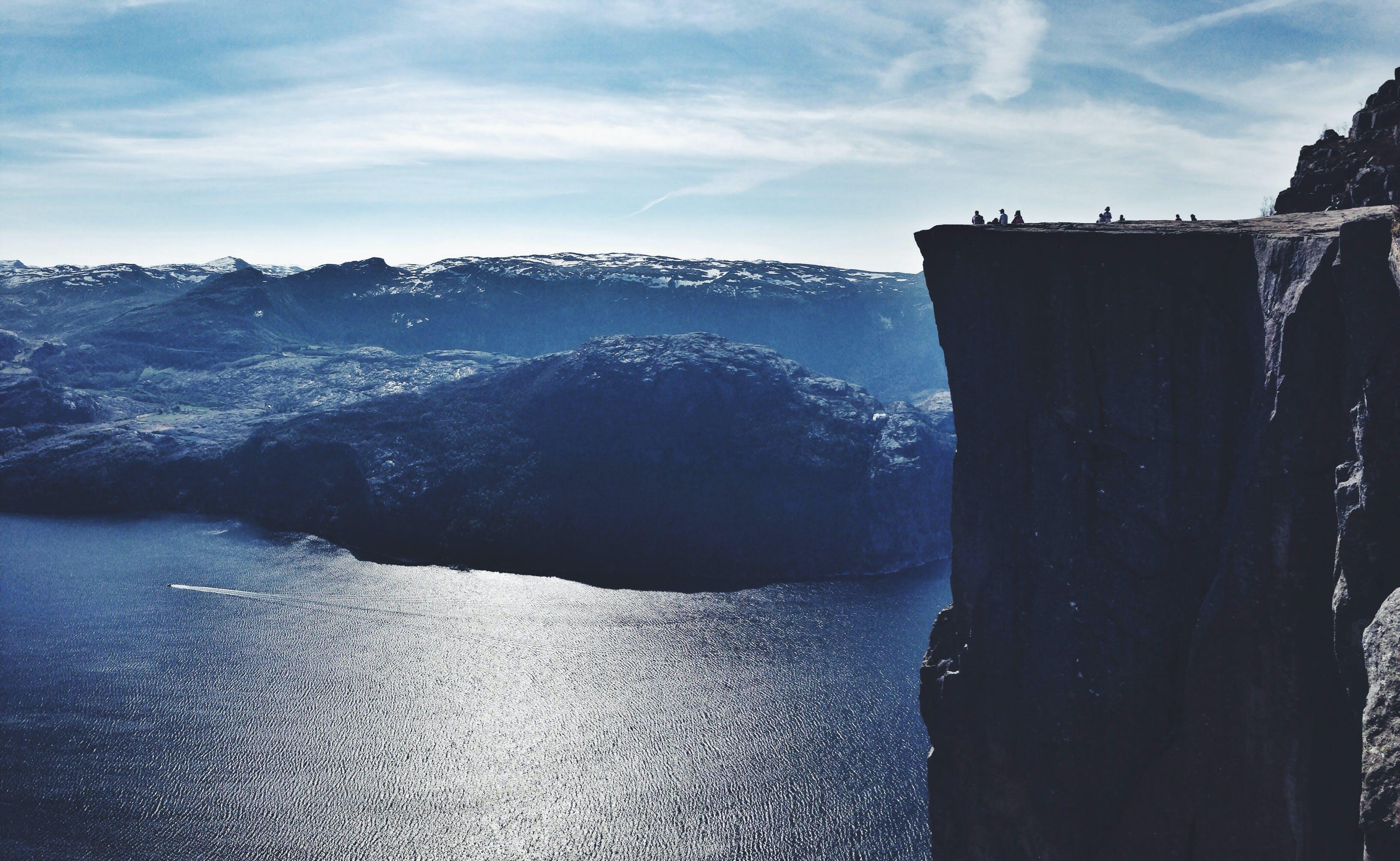 Gray Cliff Under Sunny Sky