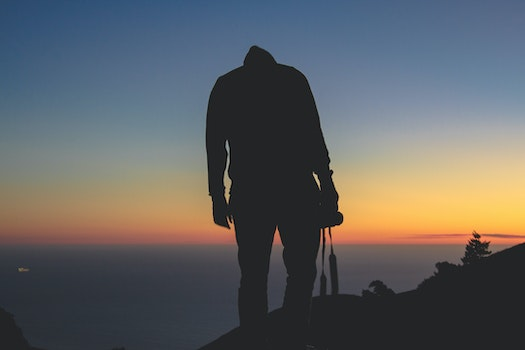 Free stock photo of mountains, sunset, person, camera