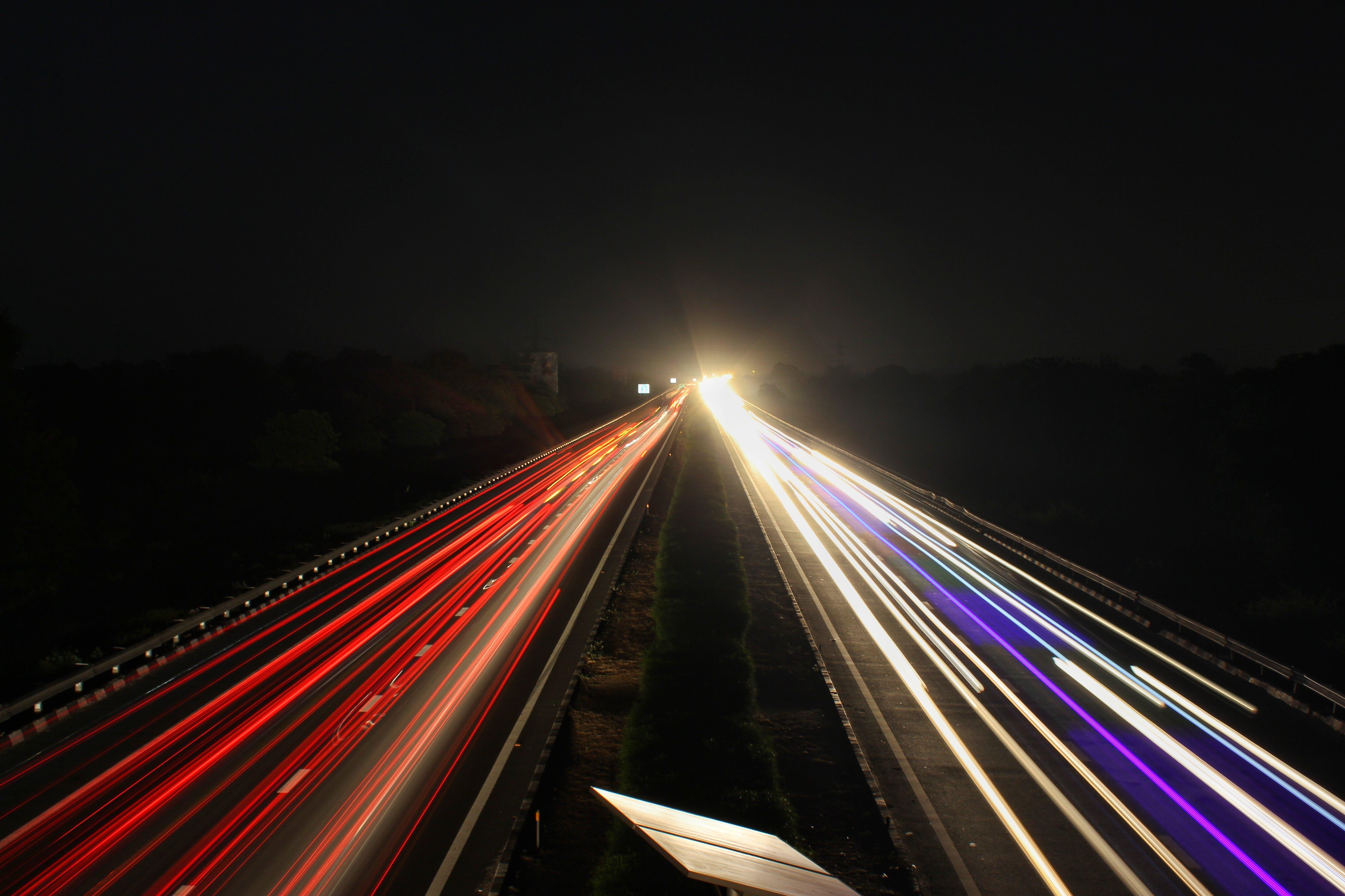 Kostenloses Stock Foto zu autobahn, langzeitbelichtung, nacht