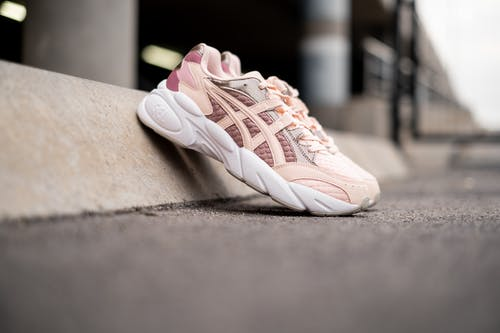 White and Pink Rubber Shoes Floor