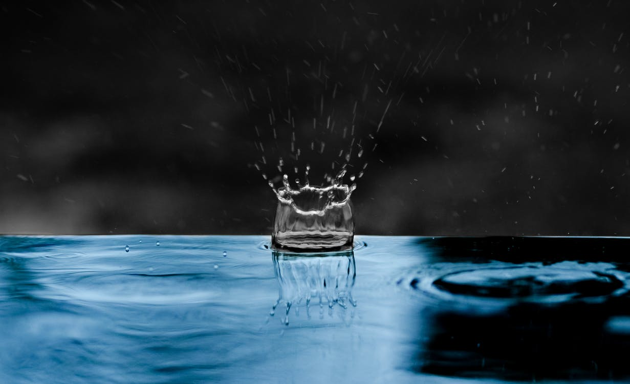h2o, plons, rimpeling