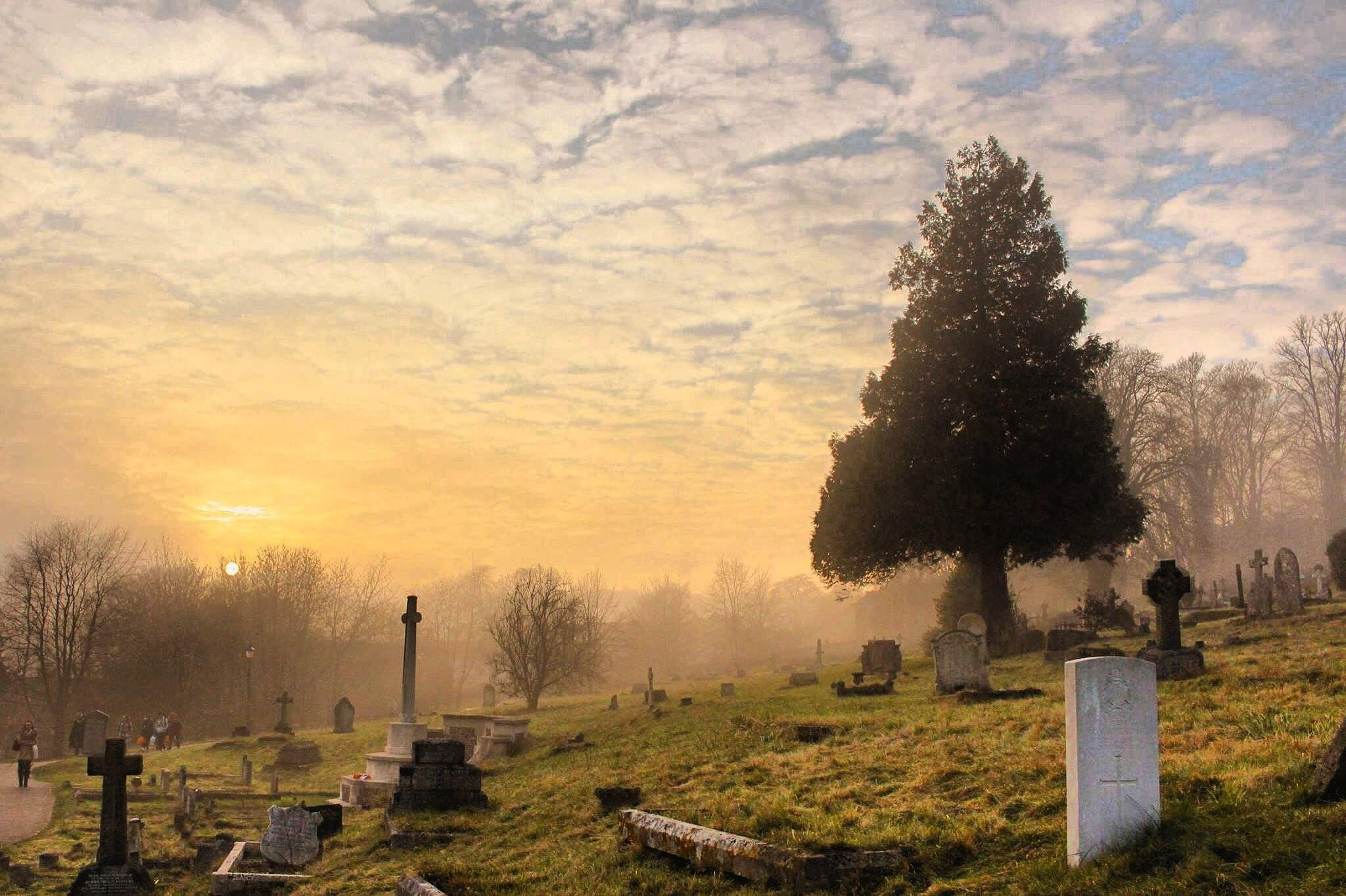 Cemetery Under the Cloudy Sky