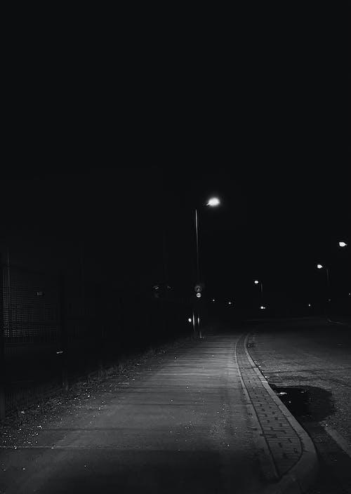 Concrete Pavement on Dark Night