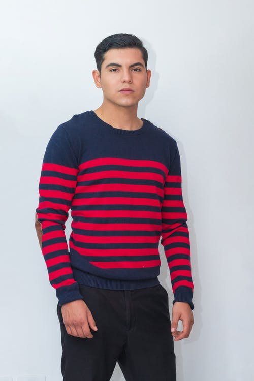 Man in Red and Black Striped Long Sleeve Shirt