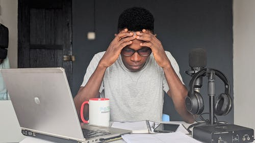 Free stock photo of adult, afro, computer