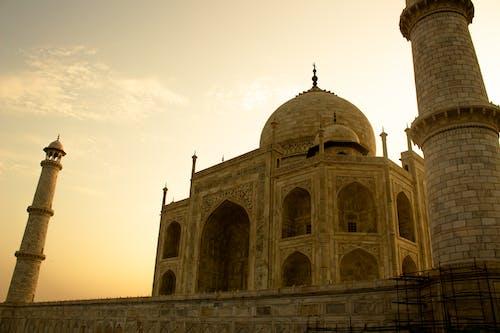 Low Angle Shot of Taj Mahal during Dusk