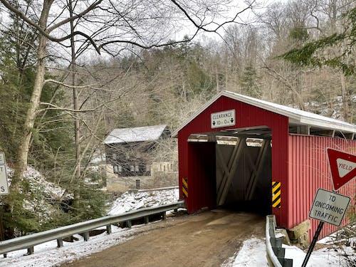 Free stock photo of bridge, covered bridge, creek