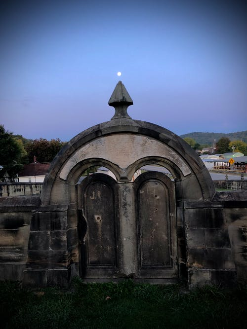 Free stock photo of cemetery, full moon, morning