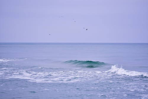 Vast water of wavy foamy blue ocean under gray tranquil summer sky in daytime