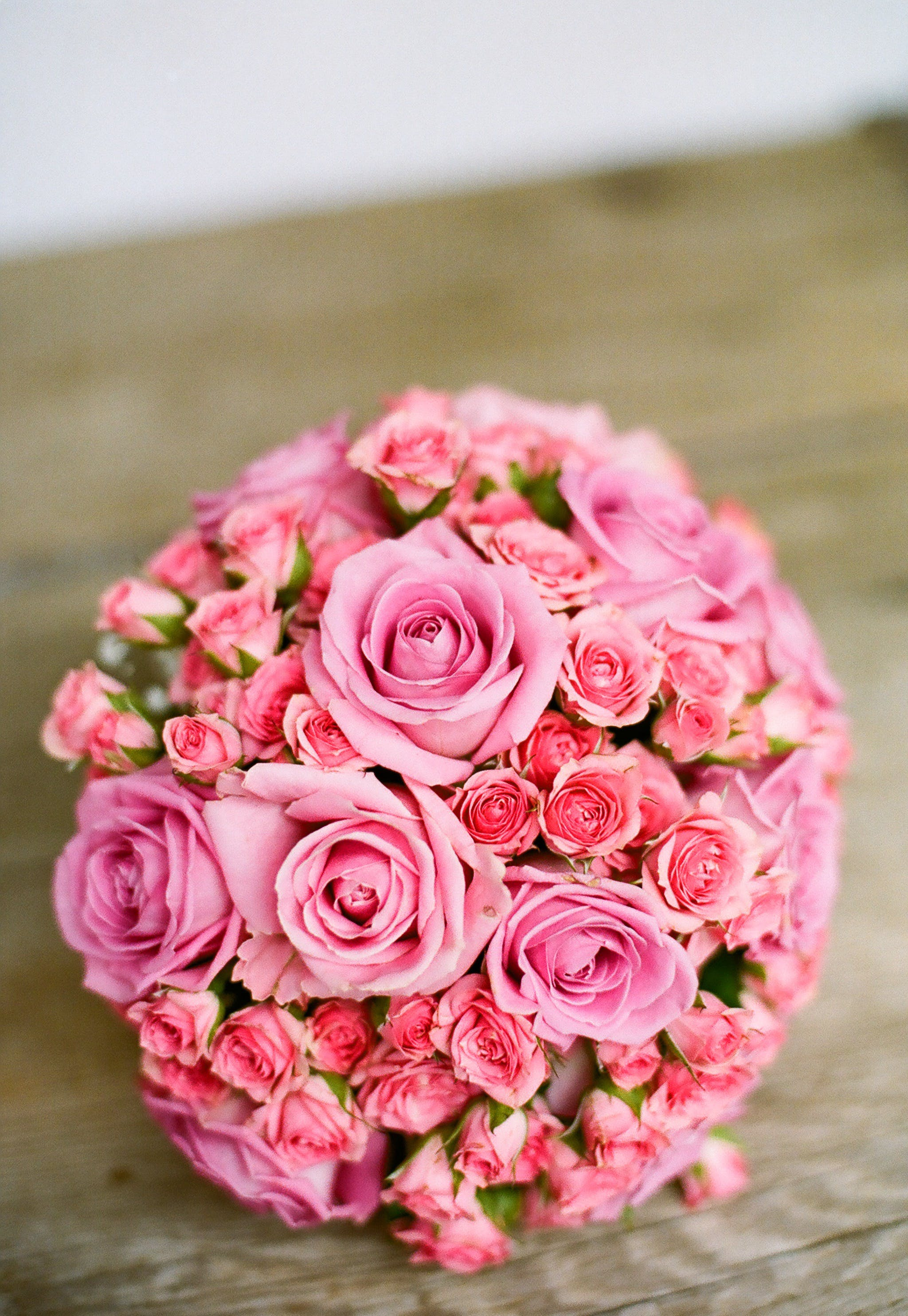 Pink Bouquet of Flowers on Table