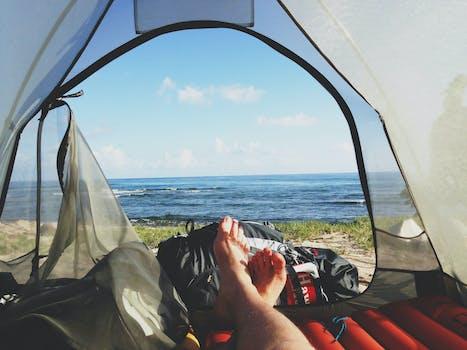 Free stock photo of feet, morning, adventure, camping