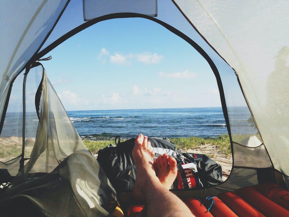 aventure, camping, pieds